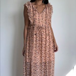 Xhilaration Peach floral boho chiffon maxi dress S